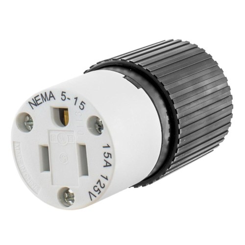 small resolution of hubbell wiring 515sc 3 wire 2 pole polarized straight blade connector 125 volt 15 amp nema 5 15r black white straight blade connectors plug connectors