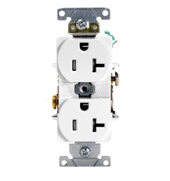 leviton t5362 w 3 wire 2 pole heavy duty smooth face tamper resistant duplex receptacle outlet 125 volt ac 20 amp white receptacle receptacle  [ 1000 x 1000 Pixel ]