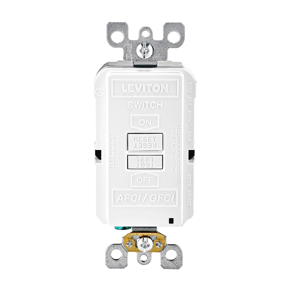 medium resolution of leviton agrbf w dual function monochromatic blank face afci gfci receptacle outlet 125