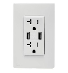 leviton ruaa2 ww tamper resistant combination duplex receptacle outlet and usb charger 125 [ 1000 x 1000 Pixel ]
