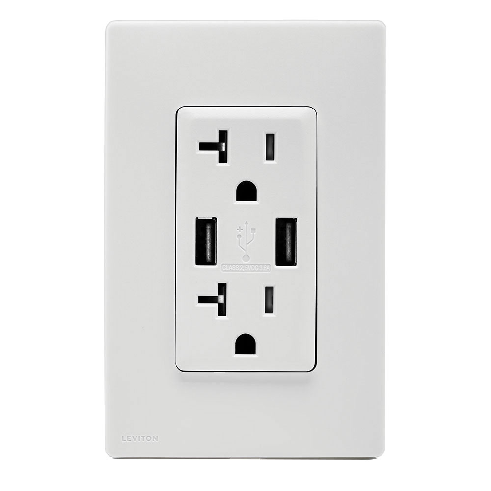medium resolution of leviton ruaa2 ww tamper resistant combination duplex receptacle outlet and usb charger 125