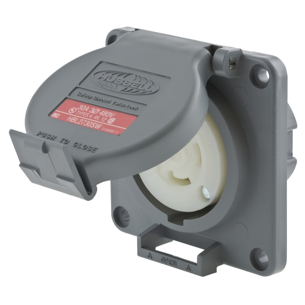 medium resolution of hubbell wiring hbl2730sw watertight 3 phase locking receptacle 3 pole 4 wire 480 volt ac 30 amp gray twist lock safety shroud twist lock receptacles