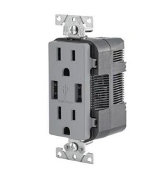 leviton t5632 gy residential grade tamper resistant combination decorator straight blade duplex receptacle  [ 900 x 900 Pixel ]