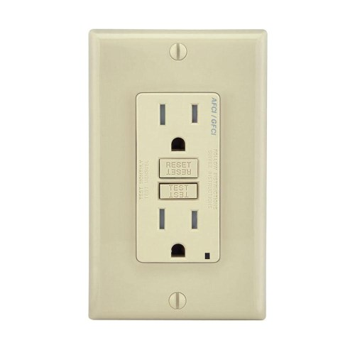 small resolution of leviton agtr1 i dual function tamper resistant afci gfci receptacle 15 amp 125 volt nema 5 15r ivory smartlockpro gfci afci receptacles wiring