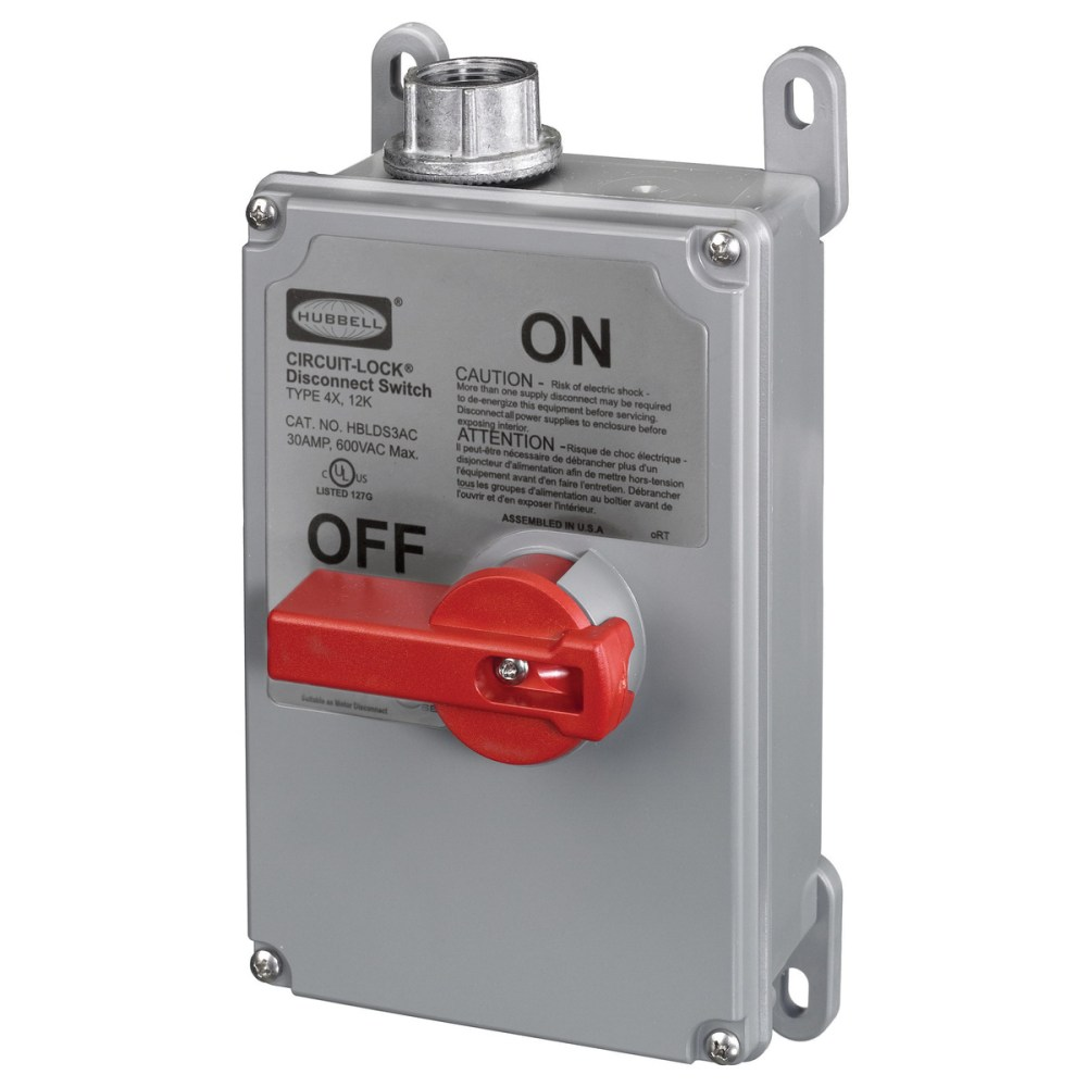 medium resolution of hubbell wiring hblds3vfd 3 pole non fusible non metallic disconnect switch 600