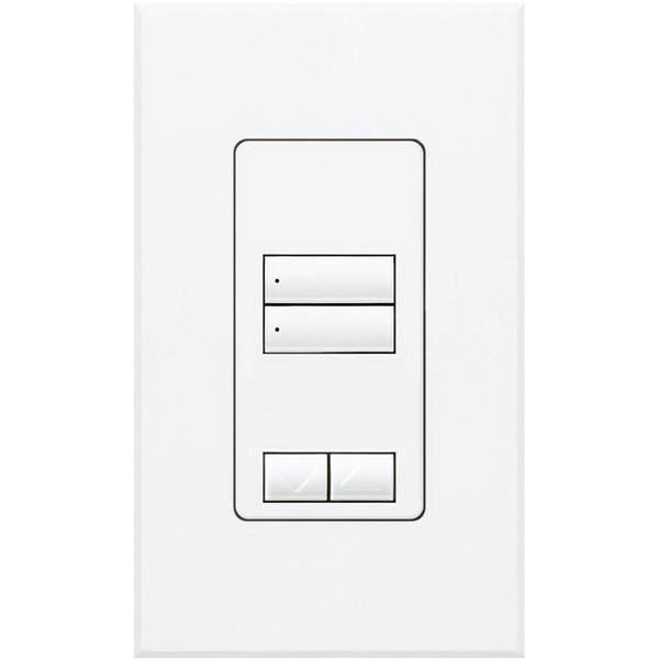 Lutron QSWS2-2BRLI-WH Wallbox Mount 2 Raise/Lower Button
