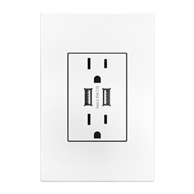 Adorne ARTRUSB153W4WP Dual-USB Outlet With Wall Plate 120