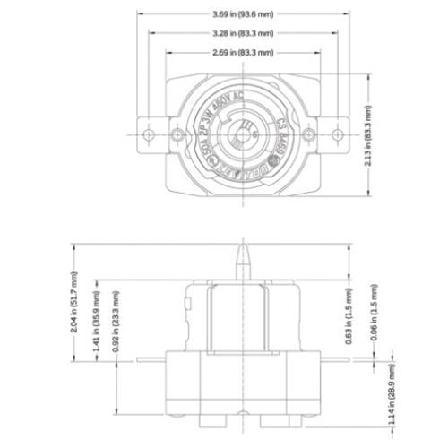 Leviton CS846-9 3-Wire 2-Pole Single Locking Receptacle
