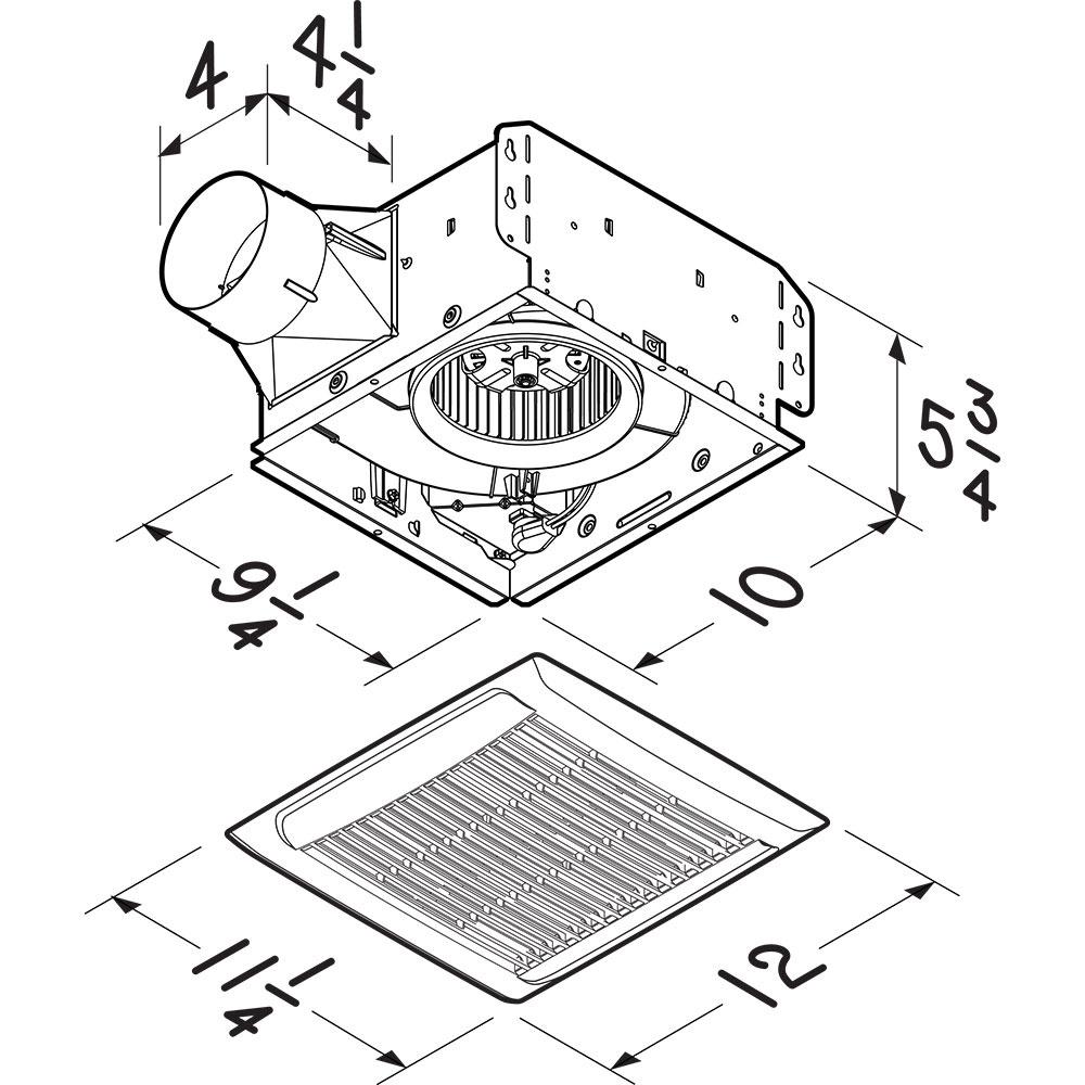 Nutone AEN50 Bathroom Exhaust Fan 4-Inch Duct 50-CFM at 0