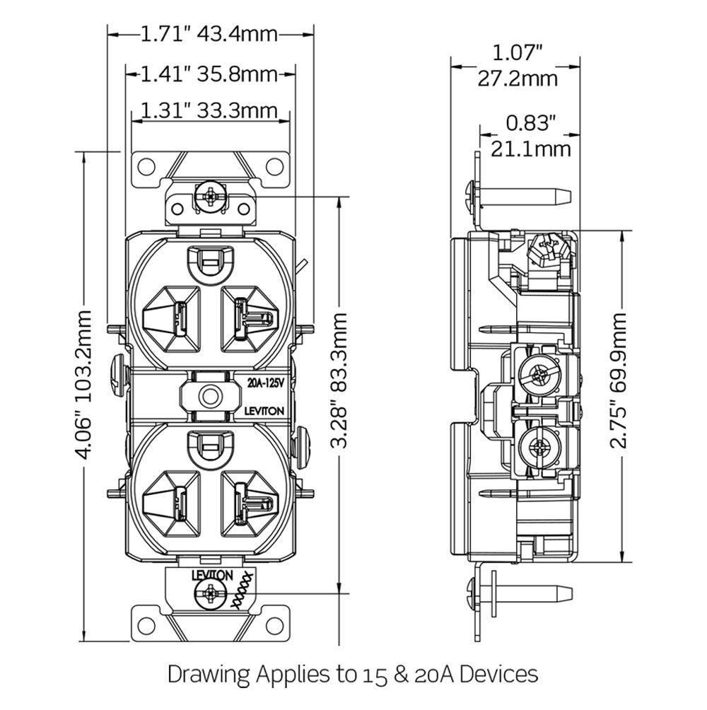 Leviton CR15-T Commercial Grade Heavy-Duty Narrow Body