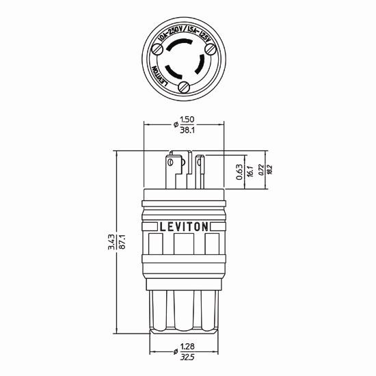 Leviton 24W07 3-Wire 3-Pole Non-NEMA Polarized Industrial