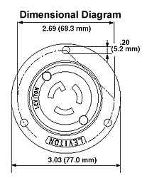 Leviton 2425 4-Wire 3-Pole Flanged Inlet Locking