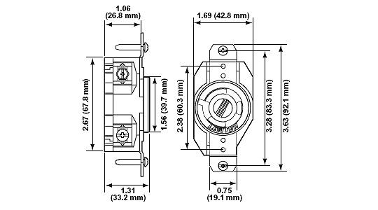 Leviton 2310-BU 3-Wire 2-Pole Industrial Grade Single