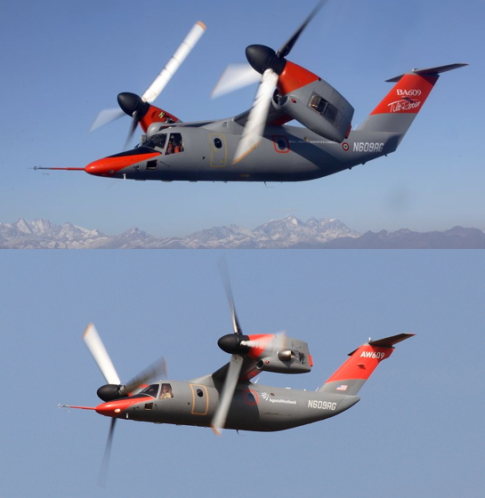 The accident aircraft is shown both before (top) and after rear fuselage and tail fin enhancements that were designed to improve performance. The accident flight was the first time the modified aircraft achieved a maximum dive speed of 293 knots. Leonardo Helicopters Photos