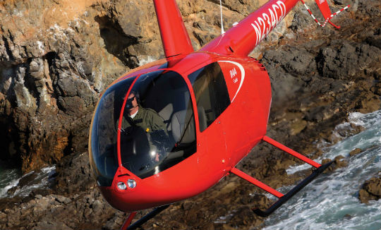 The only exterior difference between the Robinson R44 Cadet and the R44 Raven is a smaller rear tinted window, but the Cadet also has a derated engine, a lighter gross weight, and seating for only two people. Skip Robinson Photos