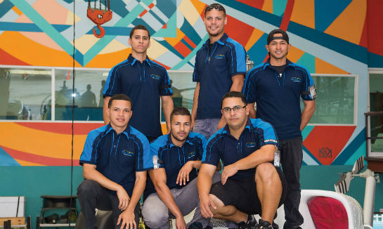 Billy Roldan (back row, right) and his team provide the avionics integration talent.