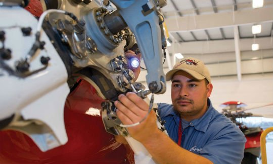 Robert Flores is one of Era's 68 aircraft maintenance technicians (AMTs) assigned to the Houma base. There are also two supervisors, six line leads, four support personnel and a regional maintenance manager. Dan Megna Photo