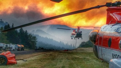 A Columbia BV234 and a BV107 on the Deception Fire Complex in Oakridge
