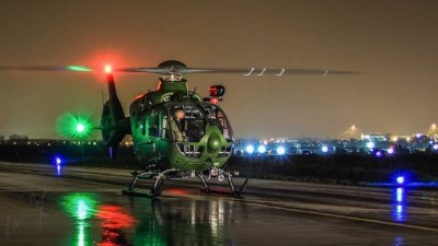 A wet and windy session with an Irish Air Corps EC135 P2.