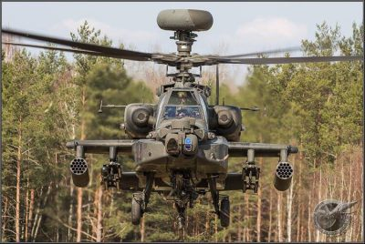 Face-to-face with the Apache at JMTC's Grafenwoehr Training Area.