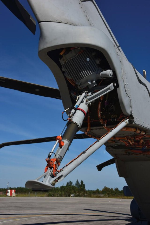 The tail of the CH-53K features an energy-absorbing strut.