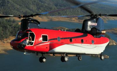 Previously operating its CH-47Ds under Billings Flying Service's Restricted Category TC, CHI Aviation will continue to develop the aircraft as a helitanker under its own TC. Skip Robinson Photo
