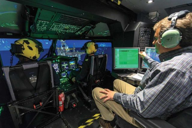 Cougar Helicopters is the center's major customer, The cockpit of the simulator is an almost exact replication of Cougar's search-and-rescue Sikorsky S-92 -- down to the registration C-GIKN appearing on the name plate on the simulator's dash. Heath Moffatt Photos