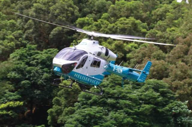 Heliservices (UK) is the largest helicopter charter company in Hong Kong. The longtime Aérospatiale SA315B Lama operator has introduced a fleet of twin-engine MD 902s for multi-mission passenger transport and and lift work. Chi Yin Liao Photo