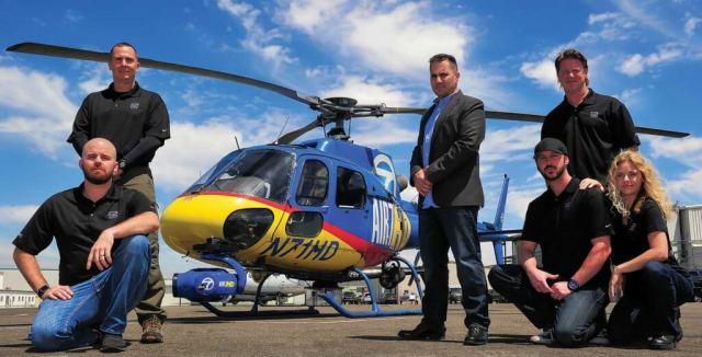 Air 7 HD flight crews include, from left, pilots Brennan Reilly and Adam Bennett, reporter J.T. Alpaugh, and camera operators Rob Gluckman, Jamie Pliska and Tracy Morgan.