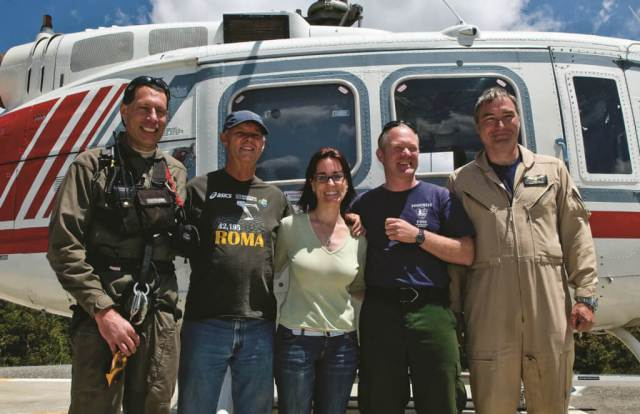 Gina Bartiromo, center, was rescued by the HRT after falling from Half Dome in 2009. Three years later, she has made a near-full recovery from the extensive injuries she suffered.