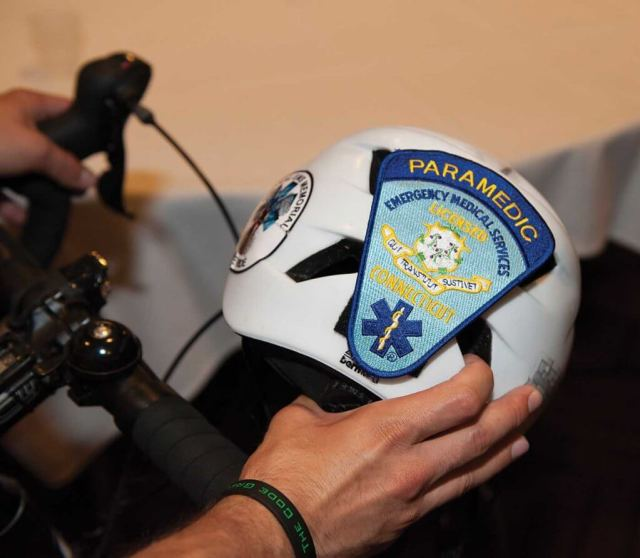The author's helmet sitting on his handlebars prior to the National EMS Memorial Bike Ride. Tammy Chatman/NEMSMS Photos