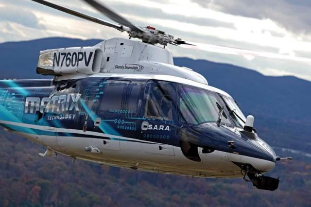 Sikorsky has been developing its Matrix Technology autonomy kit in SARA, an S-76 retrofitted with fly-by-wire flight controls. According to Sikorsky director of autonomous programs Igor Cherepinsky, the larger platform has been helpful in accommodating the supercomputer in the back of the aircraft:
