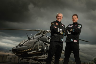 Bob, left, and Steven Dengler stand with the Bell 429 helicopter they used to circumnavigate the globe.