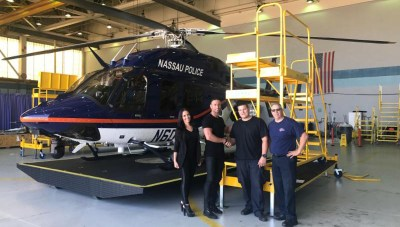 S.A.F.E Structure Designs worked side-by-side with the Nassau County Police Department maintenance crew to learn their requirements for a new Bell 429 custom-designed maintenance stand. S.A.F.E Photo