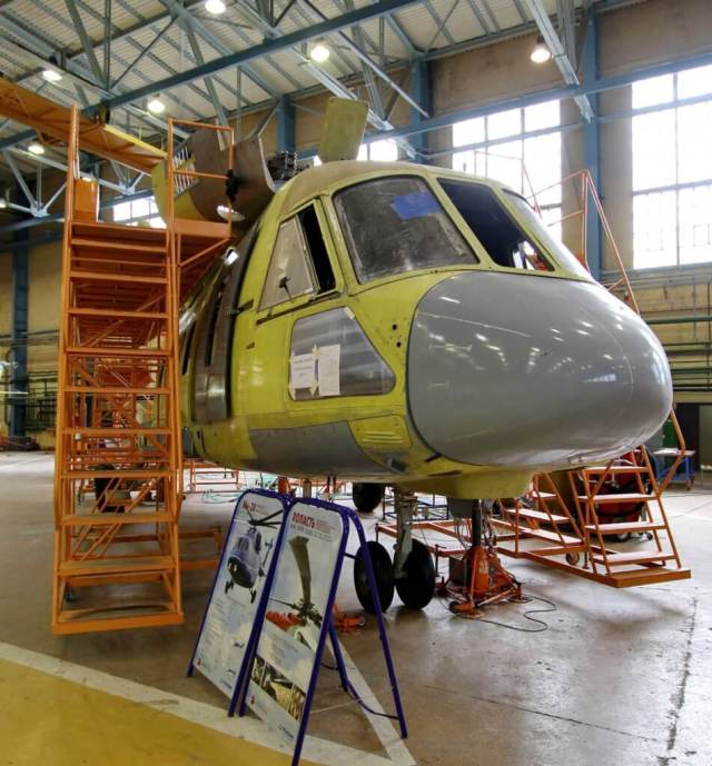 The first Mi-38T in the final assembly line of the Kazan Helicopters plant, August 2017. Babak Taghvaee Photo