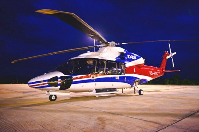 A Thai Aviation Services Sikorsky S-76D. The company's fleet of S-76D and S-92 helicopters will be fitted with SkyTrac's ISAT-200A hardware. SkyTrac Photo