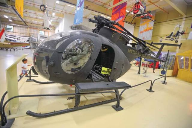 "A Hughes/MD AH-6J ""Little Bird"" from the U.S. Army 160th SOAR ""Night Stalkers"" is on display. The aircraft took part in numerous fascinating missions during its service, and later appeared in the movie ""Black Hawk Down."" Skip Robinson"