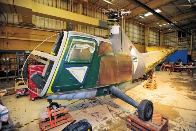 In the restoration shop is a Sikorsky R-6, a rare and interesting helicopter with an enclosed cabin. Skip Robinson