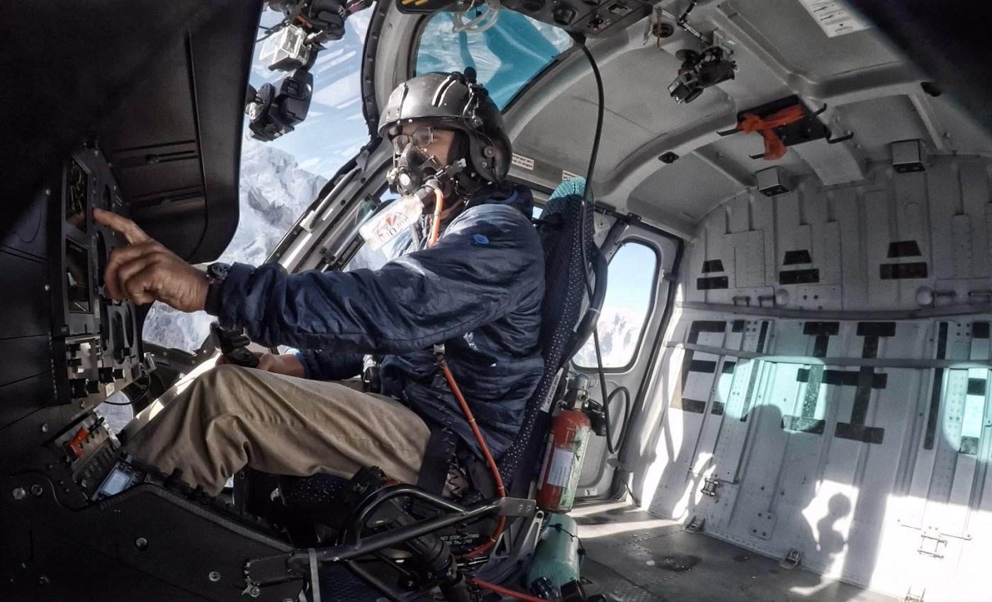 High-altitude flights require pilots to use supplemental oxygen. Here, pilot Ryan Skorecki is seen en route to Everest Camp 2, elevation 21,000 feet (6,400 meters). Photo courtesy of Ryan Skorecki