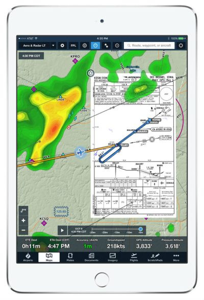 Pilot situational awareness improved by SD and ForeFlight data integration–compatible with an iPad or iPhone. Satcom Direct Photo
