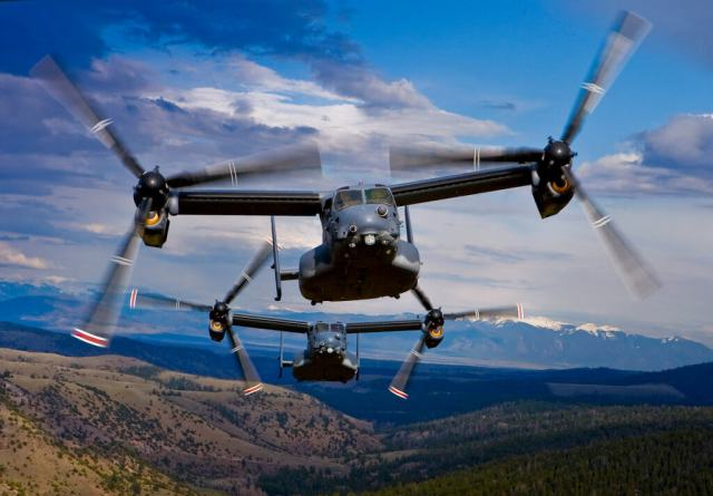 Two V-22 Ospreys in flight