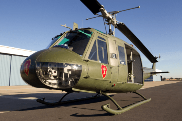 """The Bell UH-1H Iroquois, also known as the """"Huey,"""" is one of the three original Vietnam War-era helicopters that is on display outside of the National Archives Building in Washington, D.C. The UH-1H served in the Vietnam War from 1963. Lyle Jansma Photo"""