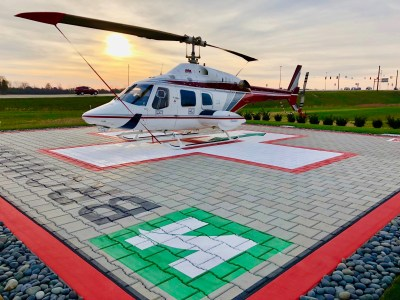 The Lily Helipads helipad catches jet fuel and de-icing liquid from helicopters, and it eliminates the need for de-icing chemicals with a heating system. Lily Helipads Photo