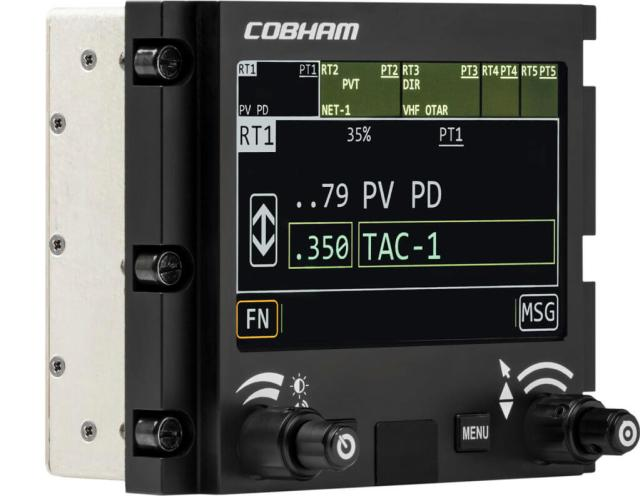 The Remote Control Display Unit allows radio control in a secondary position in an aircraft, for numerous types of users. Cobham Photo