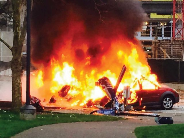 The NTSB has investigated more than 135 helicopter accidents resulting in a post-crash fire since 1994, the year that the FAA adopted new fuel system crash resistance standards. Kelly Koopmans Photo