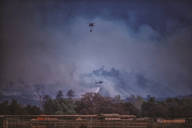 During the first week of the Thomas Fire, National Guard helicopters were supporting firefighting efforts on at least five other fires burning in Southern California. Jeff Muth Photo