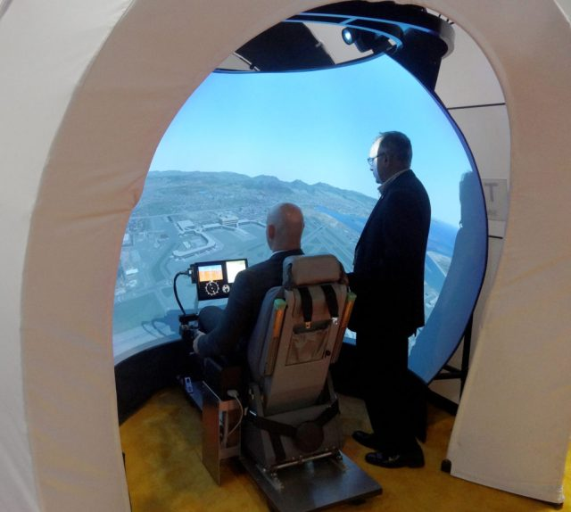 Esterline's Treality TD-522 helicopter simulator transportable dome is available in configurations with three or five specialized projectors. Esterline Photo