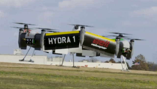In January, Bell Helicopter demonstrated its latest concept project, Hybrid Drive Train Research Aircraft, or HYDRA, a circular unmanned aerial platform to research advanced distributed propulsion systems.
