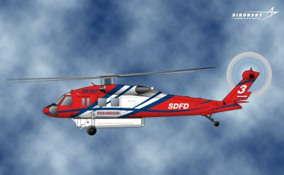 A rendering of the Firehawk™ that will provide the City of San Diego Fire Department an essential, multi-mission helicopter to protect the lives and property of San Diego''s citizens. Lockheed Martin Image