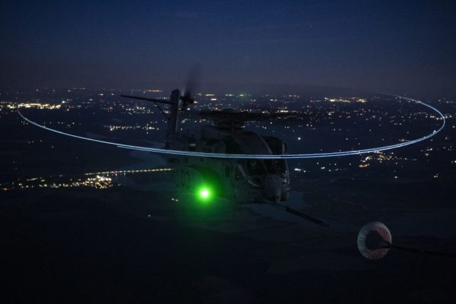 A CH-53K during its first night air-to-air refueling on June 23, 2021, over Naval Air Station Patuxent River, Maryland. Lockheed Martin Photo